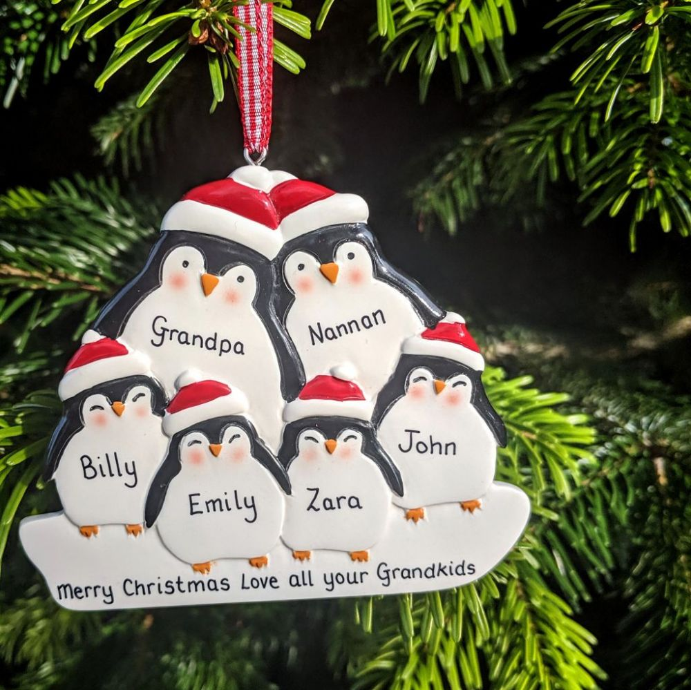 Personalised Penguin Family of 6 Christmas Tree Decoration